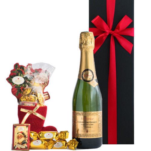 スイーツとワインの詰合せプレゼント フランス ローヌ地方 スパークリングワイン 375ml ドイツのクリスマスチョコレート サンタ、板とボンボンチョコレート ギフト箱入り ギフトラッピング付き
