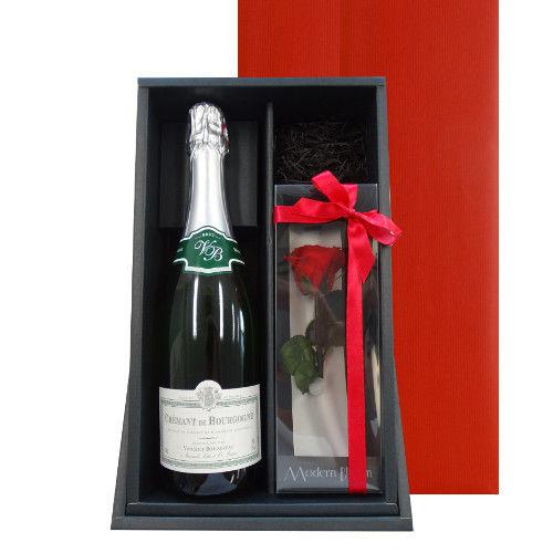 スパークリングとお花のギフト フランス クレマン・ド・ブルゴーニュ 辛口 750ml プリザーブドフラワー 赤バラ フラワースタンド付き