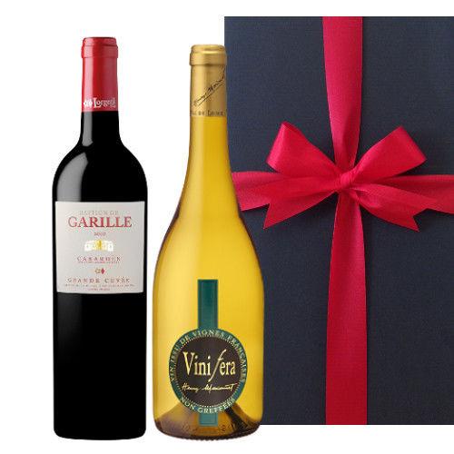 赤白ワインセット ローヌ地方のオーガニック白ワイン シュナン・ブラン 南仏ラングドック・ルーションの赤ワイン フランス ミディアムボディ 辛口