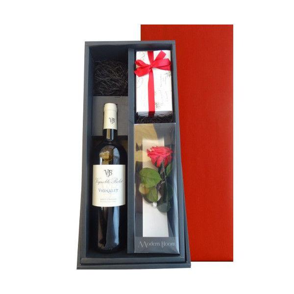 父の日に フランス・ラングドックの赤ワインと焼菓子のセット、 バラの一輪挿し付き
