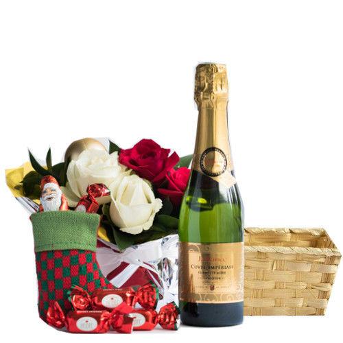 クリスマスの詰合せギフト 白と赤バラのアレンジメントフランスのスパークリングワイン やや甘口 375ml クリスマス限定チョコレートセット バスケット入り お届け日時指定 ギフトメッセージカード可能