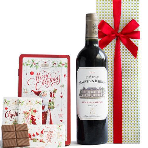 クリスマスプレゼント ボルドー メドック 赤ワイン 2012年 サンタチョコレート板