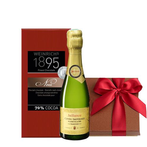 バレンタイン お酒 ギフト ミニボトル フランス スパークリングワイン 200ml ビターチョコレート カカオ70%