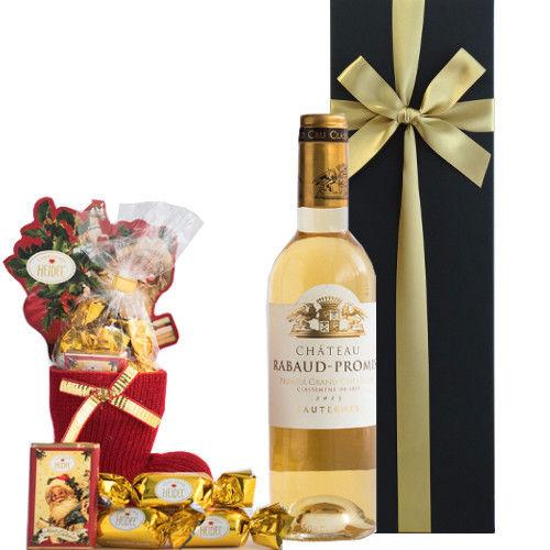 クリスマスのお菓子セット フランスの高級デザートワイン ソーテルヌ 甘口 375ml のクリスマスチョコレート サンタとボンボンの組み合わせ ギフト箱入り ギフトラッピング付き