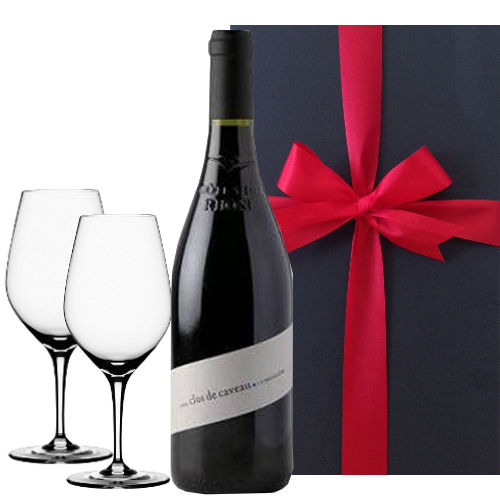 【グラスとワインギフトセット】 フランス、コート・デュ・ローヌのビオ赤ワイン(750ml)、エレガントなシェイプのペアワイングラス