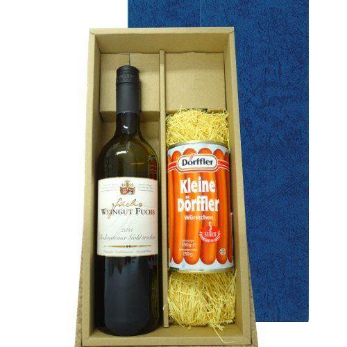 ワインとおつまみのギフト  ドイツの白ワイン 定番のフランクフルトソーセージ  ヴァイングート・フックス「ロデンシュタイナー・トラディション」2013年