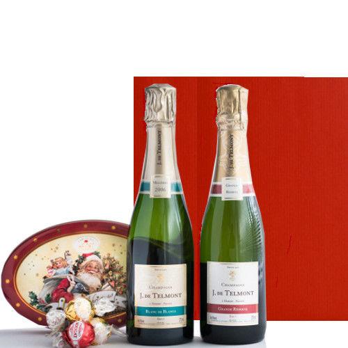 フランス シャンパン飲み比べ2本セット375mlとクリスマス特別限定のチョコレート