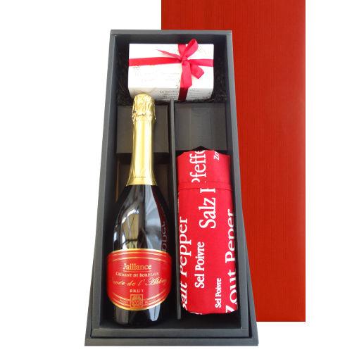 ボルドーの辛口スパークリング クレマン・ド・ボルドー 750ml と5種類の焼菓子セット 、お料理好きの方に喜ばれるフランスデザインの赤色のエプロン(フリーサイズ) OG45-603377