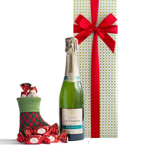 シャンパンとチョコレートのXmasギフト フランスのシャンパン シャルドネ100% ブラン・ド・ブラン 2006年 375ml クリスマスのソックス チョコレート入りギフト箱入り ギフトラッピング付き