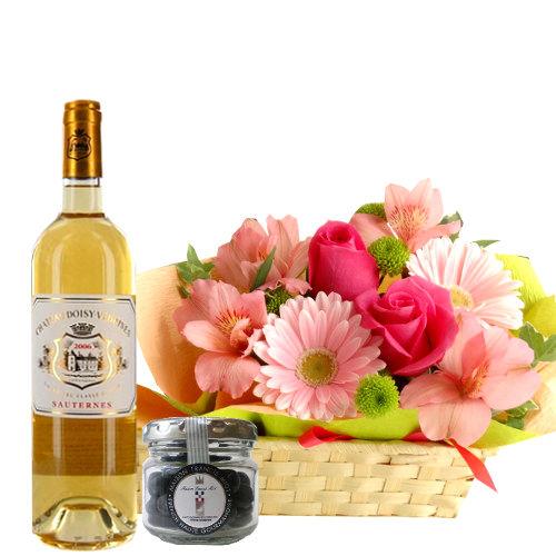 ワイン チョコレートとお花のギフト ソーテルヌワイン 甘口 ボルドー 375ml 貴腐ワイン漬けレーズンチョコレート フラワーアレンジメント付き