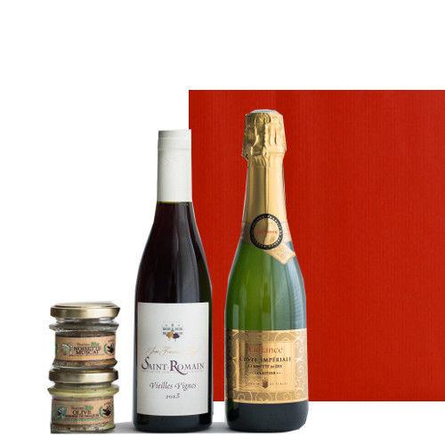 フランスワインとテリーヌ 詰合せ スパークリングワイン やや甘口 ブルゴーニュ赤ワイン 辛口 375ml 2種類のオーガニックのパテセット