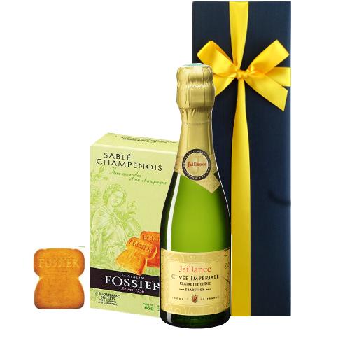 ワインとお菓子のセットギフト フランスのスパークリングワイン ミニ ボトル シャンパン風味のサブレクッキー ギフト箱入り プチギフト お礼 お返し