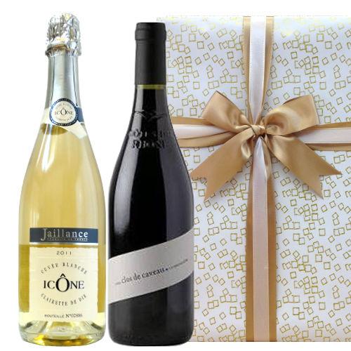 【ワインギフトセット】 コート・デュ・ローヌのスパークリングワイン、ヴァレ・デュ・ローヌの香り豊かなオーガニック赤ワイン、フランス(750 ml x 2)