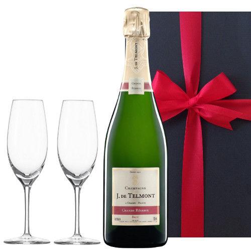 シャンパンとグラスセット フランスの辛口シャンパン「グラン・レゼルブ・ブリュット」、750ml、ペアシャンパングラス、ギフトボックス入り