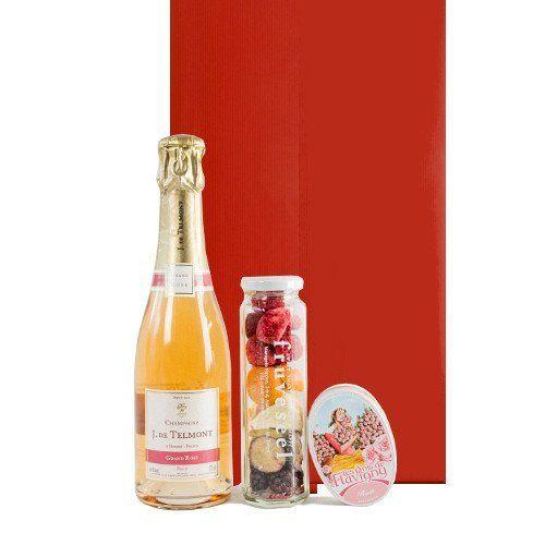 フランス ロゼシャンパン ハーフボトル フリーズドライフルーツ バラのキャンディー  ギフトセット
