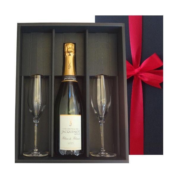 ワインとペアグラスのギフトセット 老舗シャンパンブランドのシャンパン「ブラン・ド・ノワール」とペアグラスセット