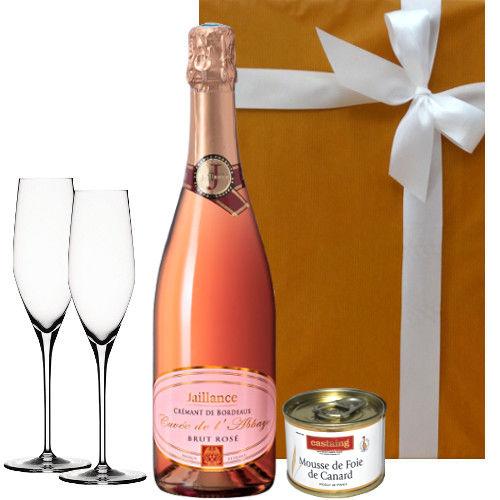 【スパークリングワインとグラスとグルメのギフト】 ボルドーの本格スパークリング「クレマン・ド・ボルドー・ブリュット・ロゼ」、ペアフルートシャンパングラス、フランス産の「鴨のフォアグラムース」