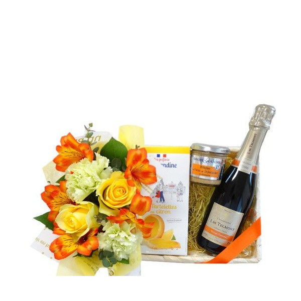 詰め合わせギフト ビンテージシャンパン フランスの貝柱のリエット レモンタルトクッキー 黄色とオレンジ色のフラワーアレンジメント 記念日  敬老の日