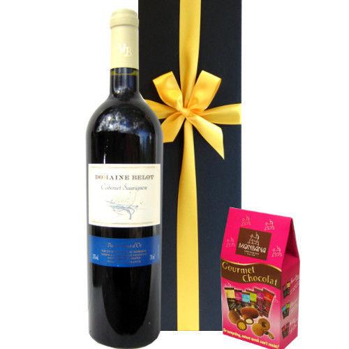 フランスのしっかりした果実味が味わえる赤ワイン2014年(750ml)とフランスチョコレートのセット 敬老の日 誕生日 お返しギフト