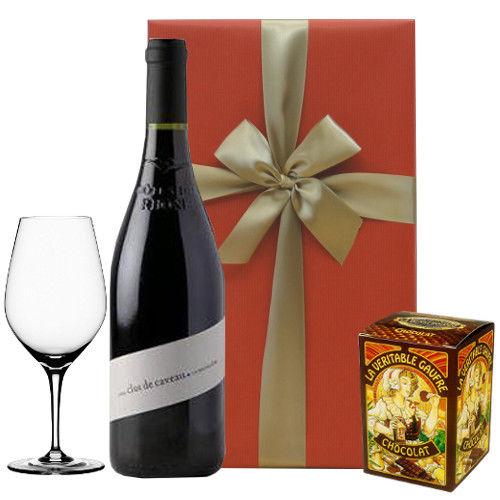 【グルメギフト】 南フランス、コート・デュ・ローヌの豊潤な赤ワイン(750ml)とテイスティンググラス、フランダース地方の伝統的なチョコレートワッフル
