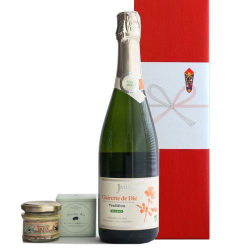 オーガニック グルメギフト フランスのスパークリングワイン コート・デュ・ローヌ クレレット・ド・ディー ビオ パテのおつまみ オリーブとハーブ風味 フランス産 45g ギフト箱入り ラッピング付き