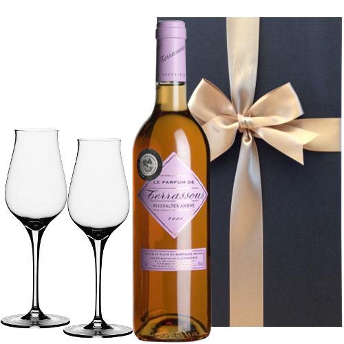 【グラスとワインギフトセット】 天然甘口ワイン「リヴザルト・アンブレ」ヴィンテージ2003年 ( 750ml) ペアデザートワイングラス