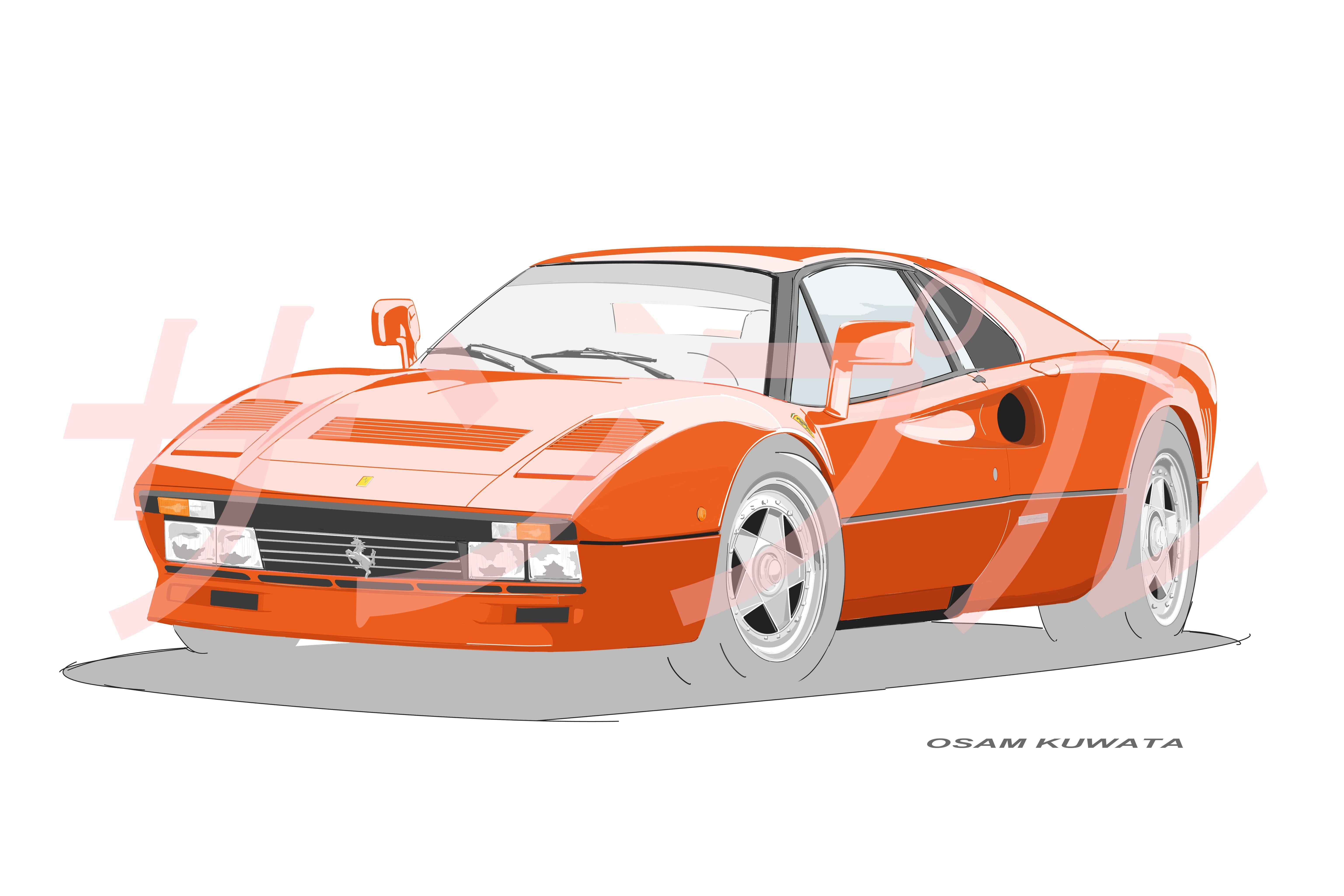 イラスト フェラーリ 288GTO A4サイズ 額入り