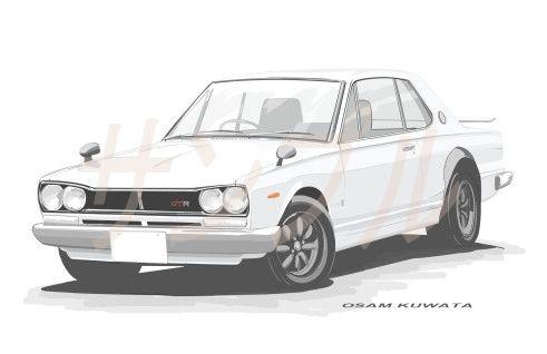 イラスト スカイライン GT-R A4サイズ 額入り