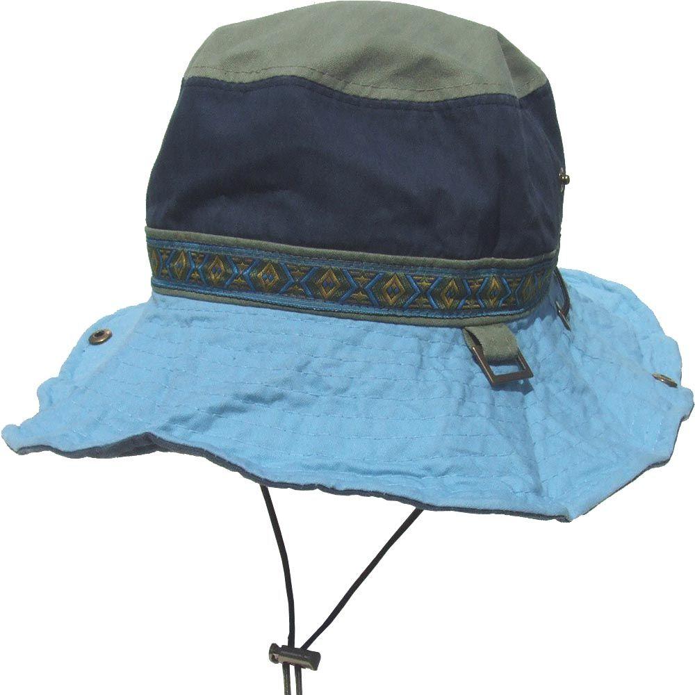 帽子 エスニック配色 アドベンチャーハット サファリ ブルー
