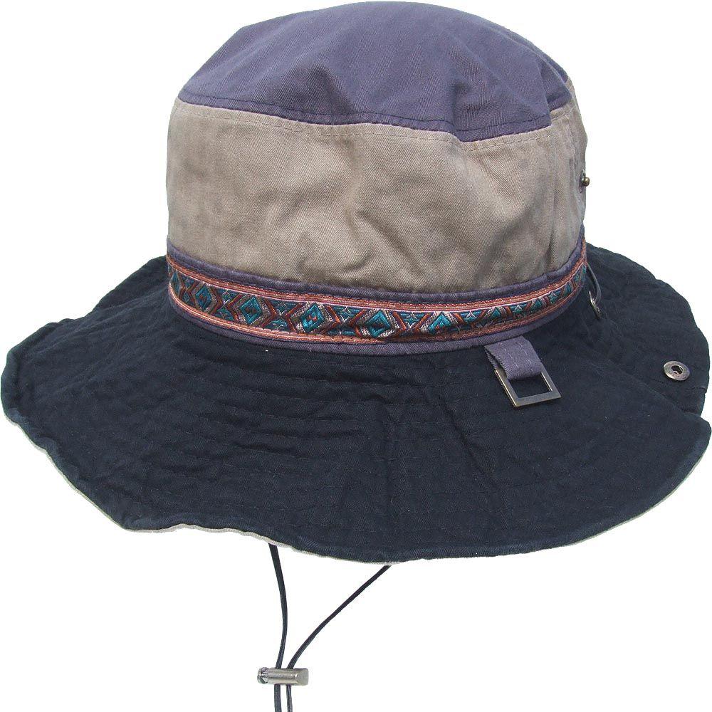 帽子 エスニック配色 アドベンチャーハット サファリ ブラック
