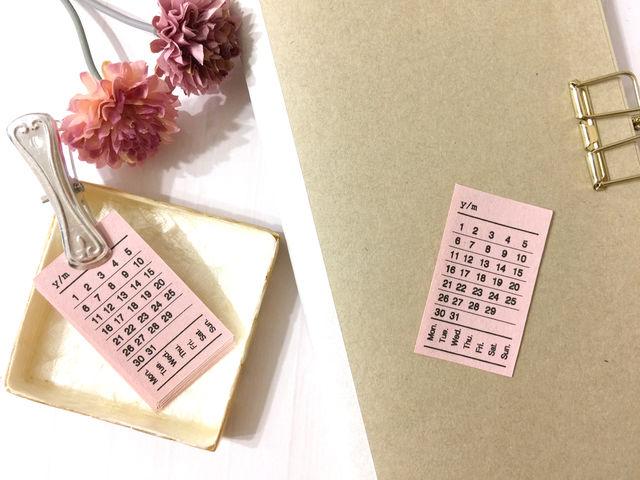 ミニ日付シート ピンク / 万年タイプ・チケットデザイン【手帳コラージュ】