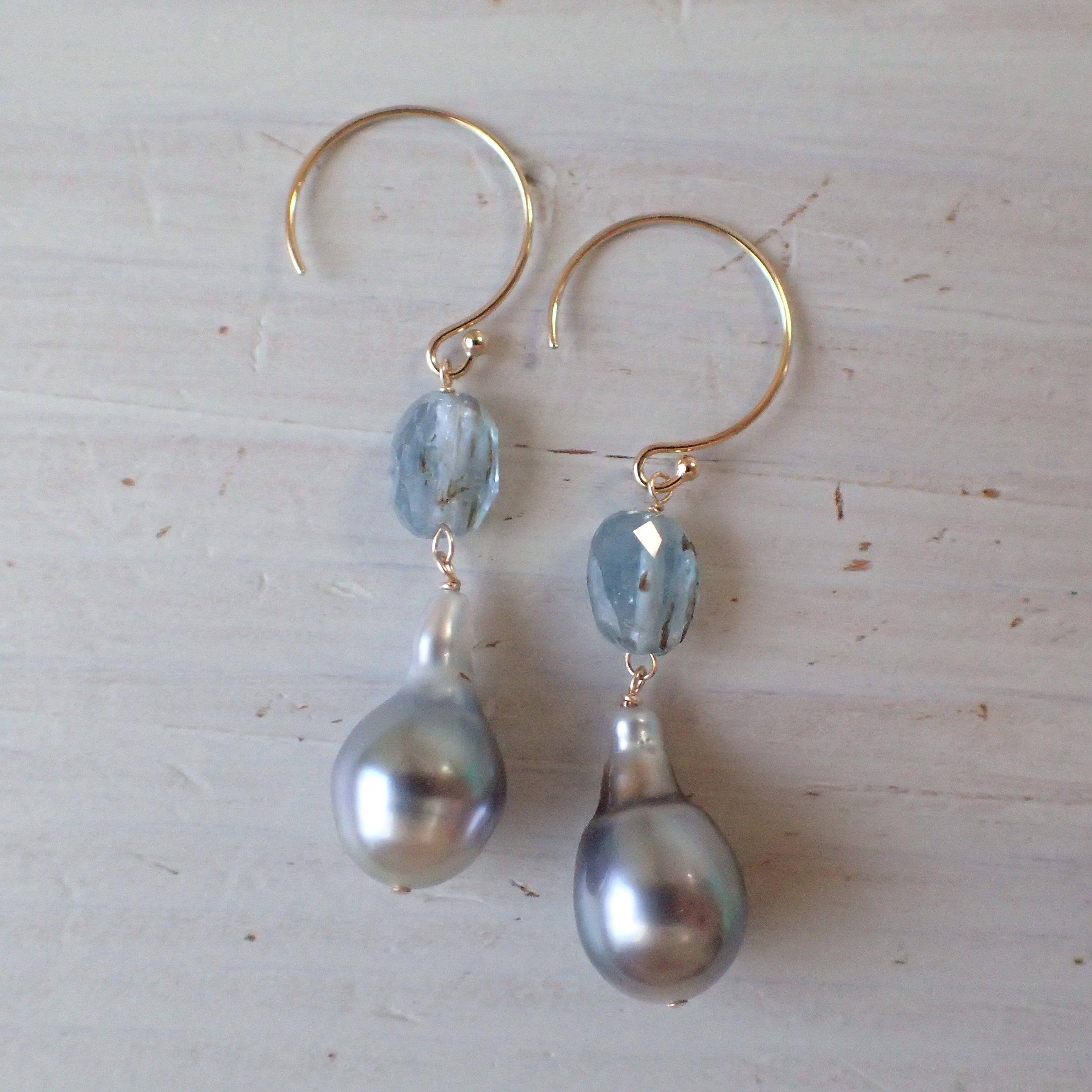 K14GF kyanite & tahitian pearl pierce
