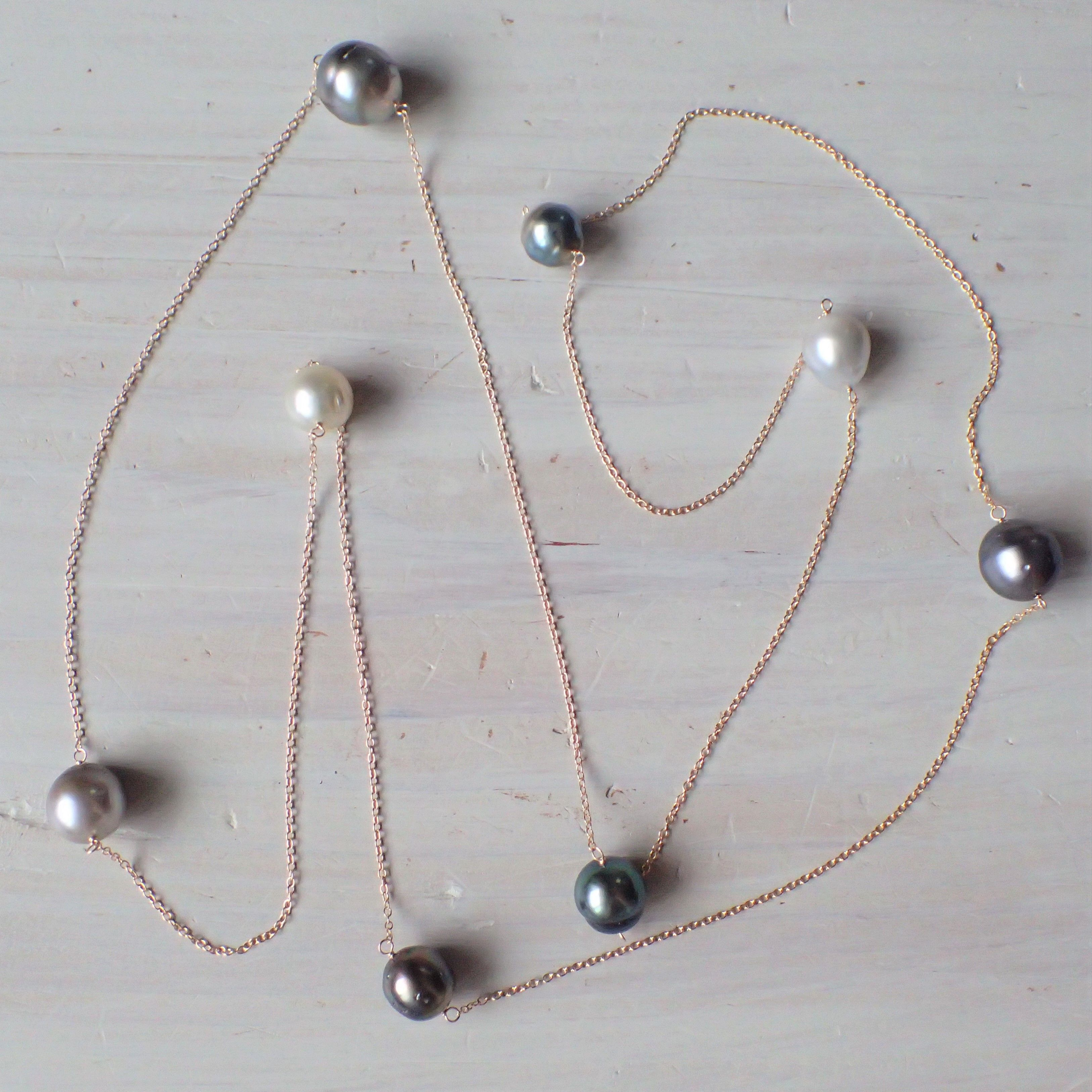 K14GF tahitian pearl long necklace
