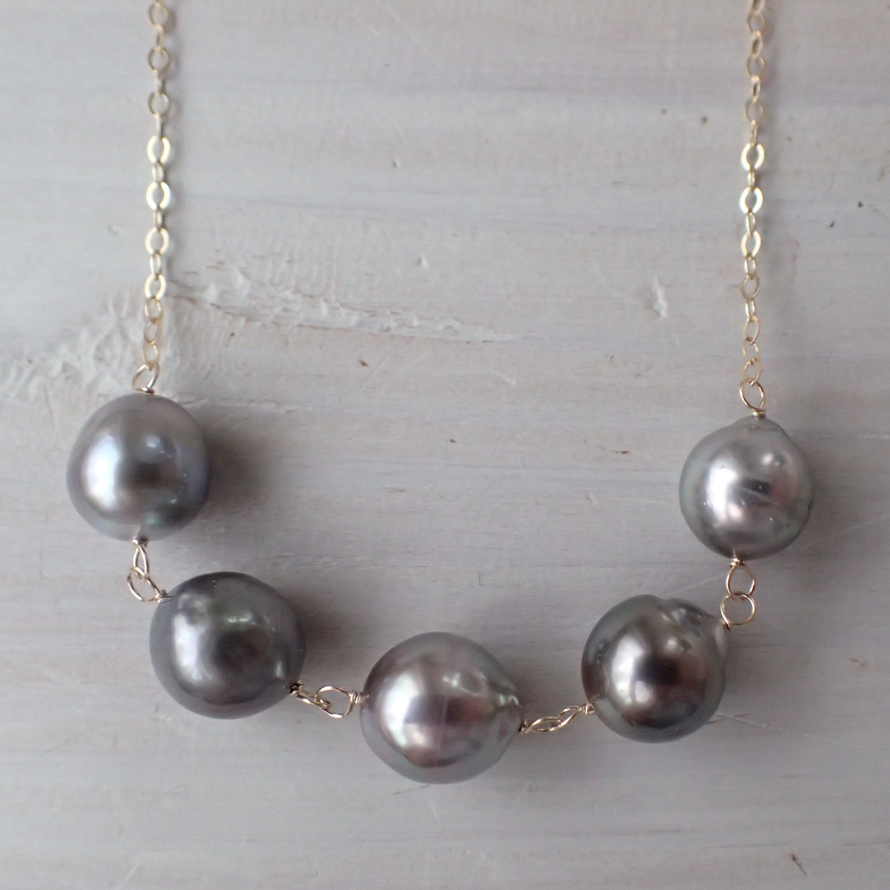 K14GF 5 brown color tahitian pearl necklace