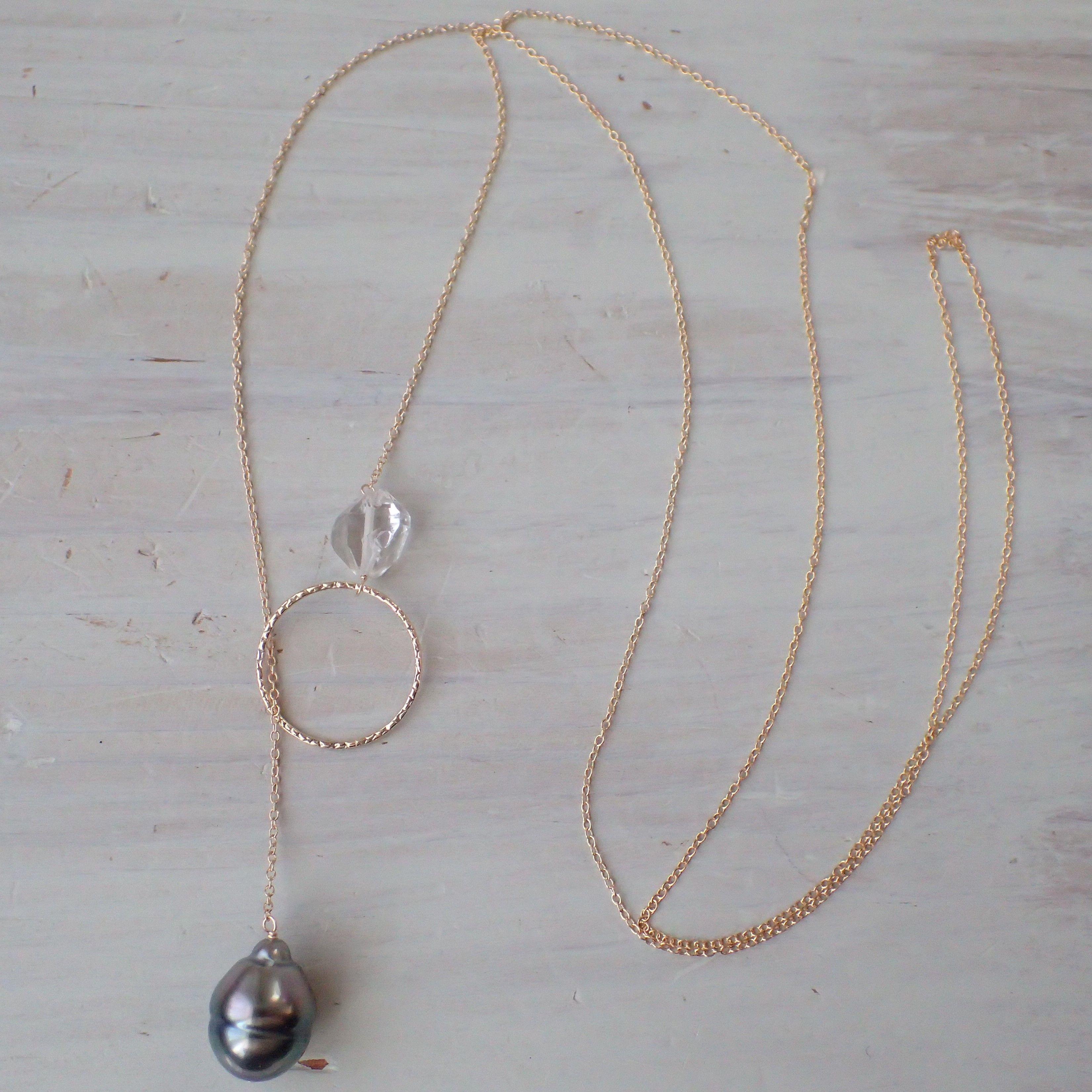 K14GF tahitian pearl adjustable long necklace