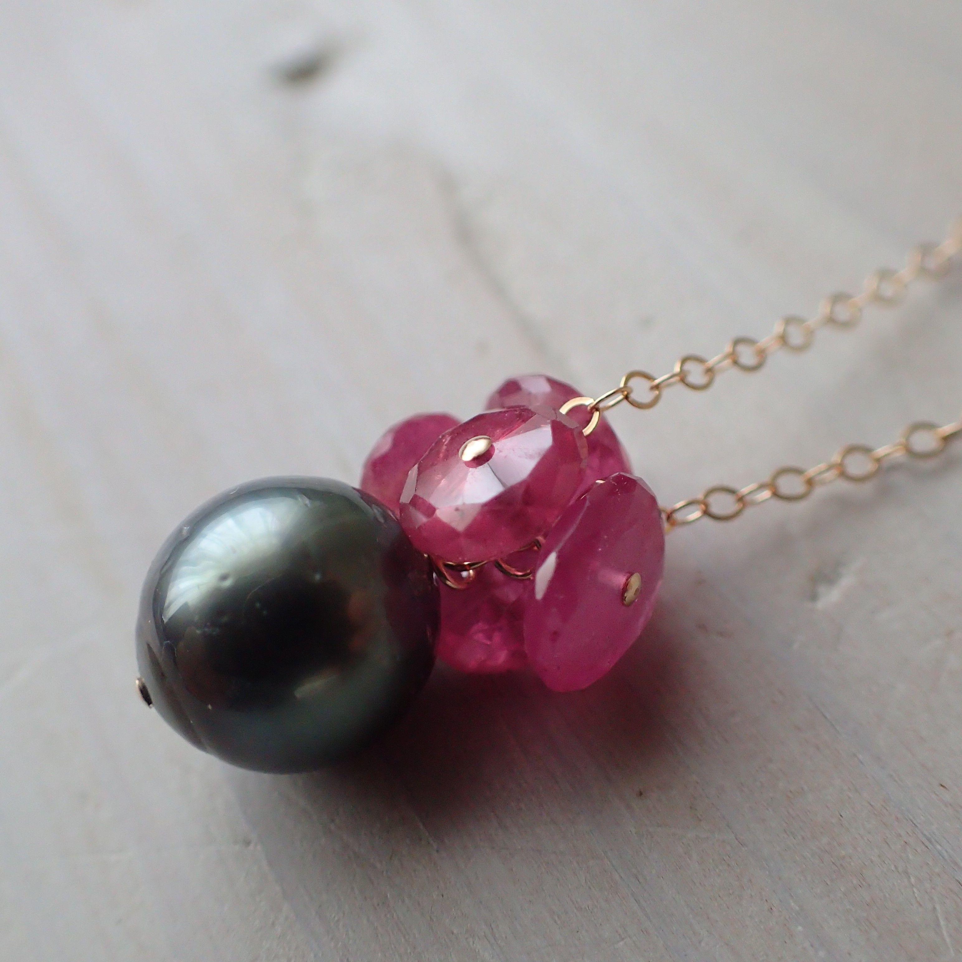 K14GF ruby & tahitian pearl necklace