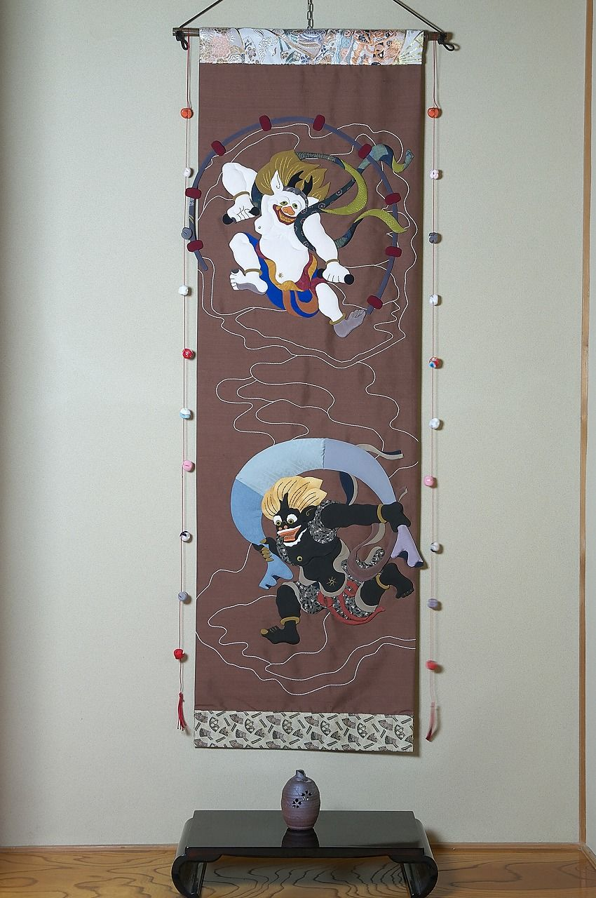 風神 雷神 (掛け軸)(タペストリー)(押絵)(和風)(和雑貨)(モダン)