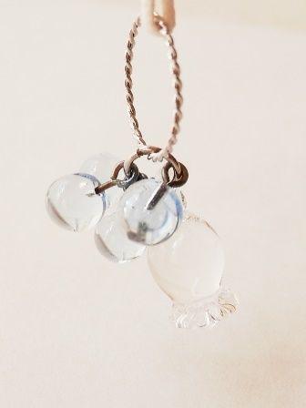 【ガラス工房Lamb】すずらんペンダント クリア&つぶ水色 L4-259