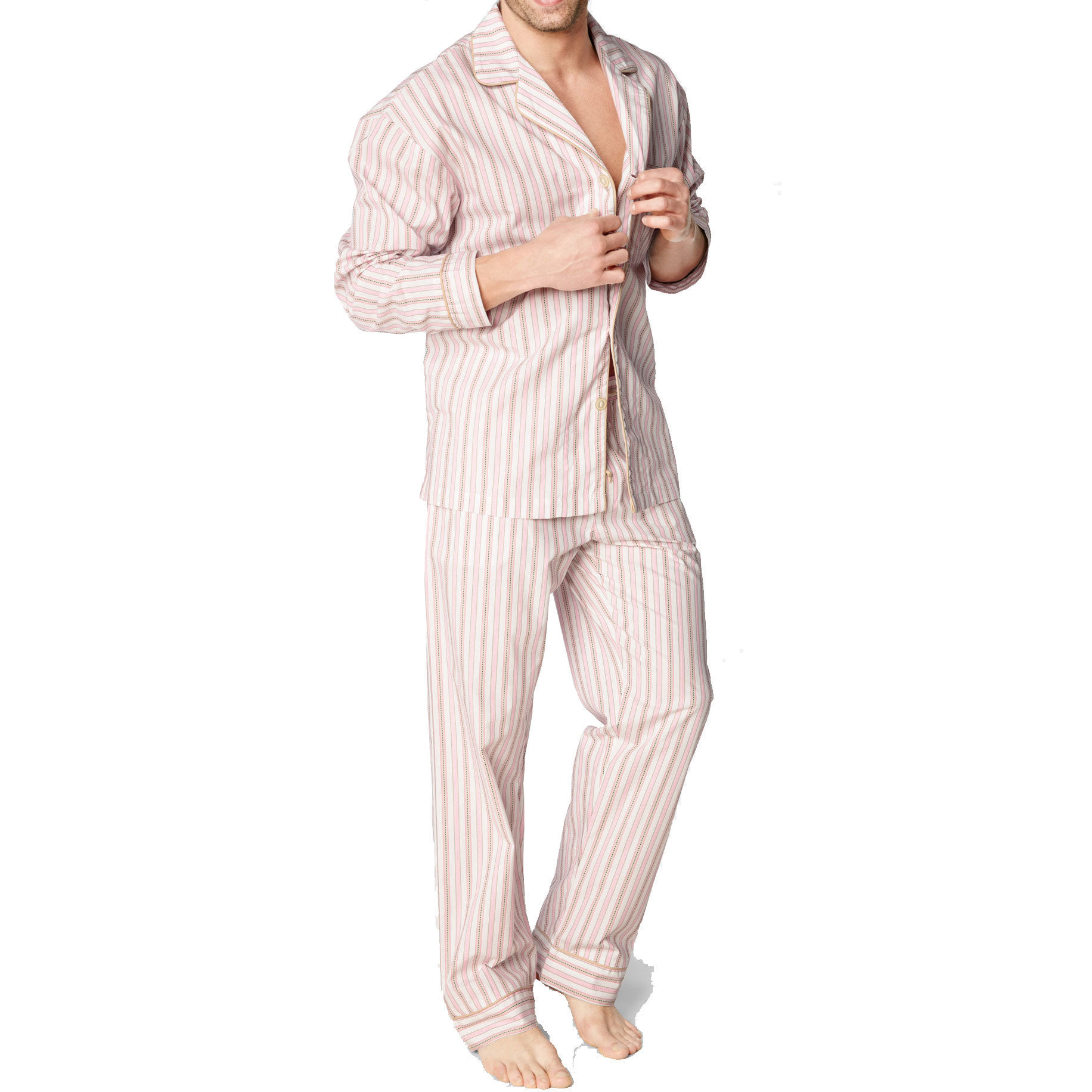 [SALE] BedHead Pajamas メンズコットンパジャマ  Pink Rail Road Stripe