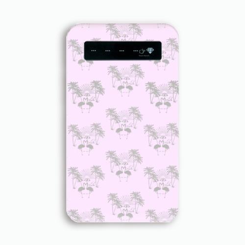 (ペールピンク)フラミンゴ×パームツリー柄 モバイル バッテリー ( スマホ ) ( 充電器 )