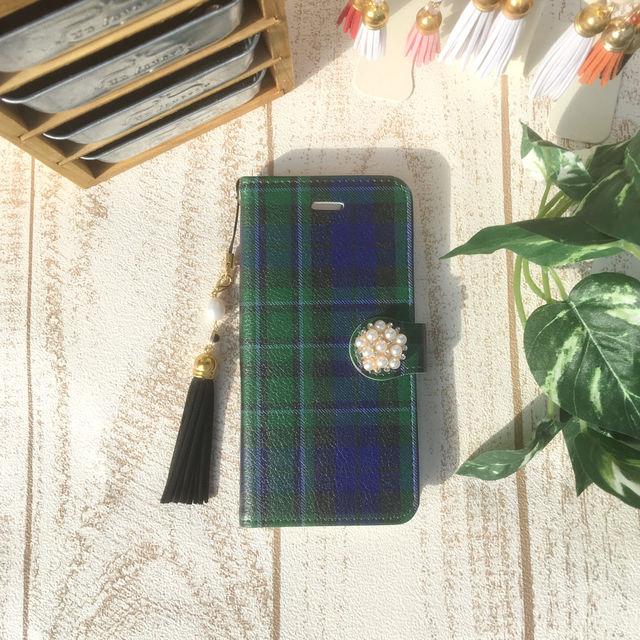 【pajour 】グリーンタータンチェック 柄 手帳型 スマホケース【iPhone】【手帳】【ブラックウォッチ】【秋冬】