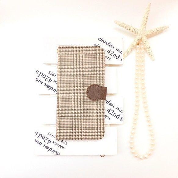 ハバナブラウングレンチェック 柄 手帳型 スマホケース ビジュー無し 【iPhone】【pajour 】【千鳥格子】
