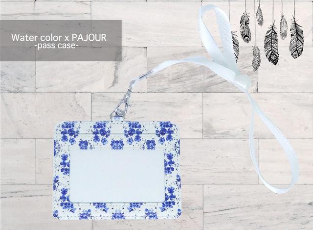 pajour ) 水彩絵の具花柄 パスケース( ネイビー)( 小花柄 )