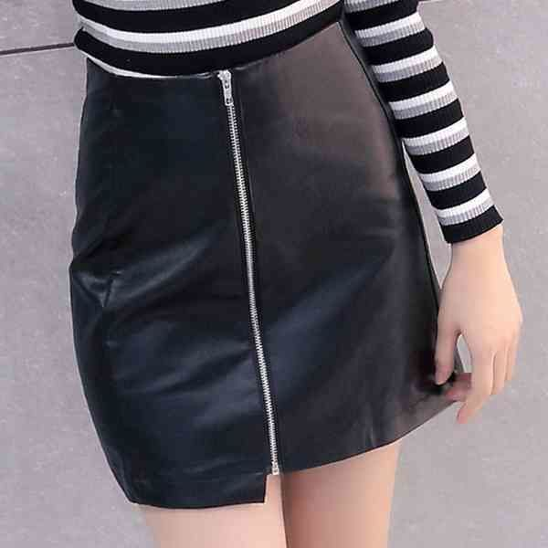 fakeleather zipper miniskirt