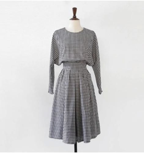 gingham check flare one-piece