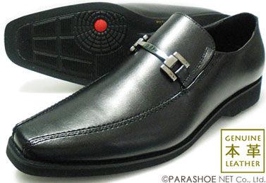 WALKERS-MATE 本革 ロングノーズ ビットローファー スリッポン ビジネスシューズ 黒[蒸れない革靴・紳士靴]【7303BL】