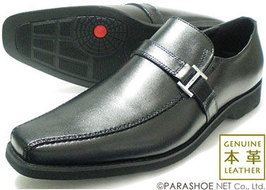 WALKERS-MATE 本革 ロングノーズ バックルスリップオン ビジネスシューズ 黒[蒸れない革靴・紳士靴]【7302BL】