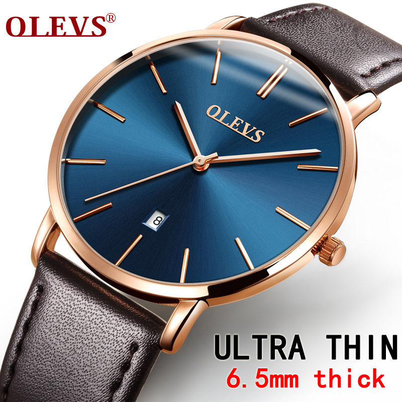 Olevs 男性腕時計 高級ブランド 石英本革 ストラップミニマリスト 極薄腕時計 防水高品質 53