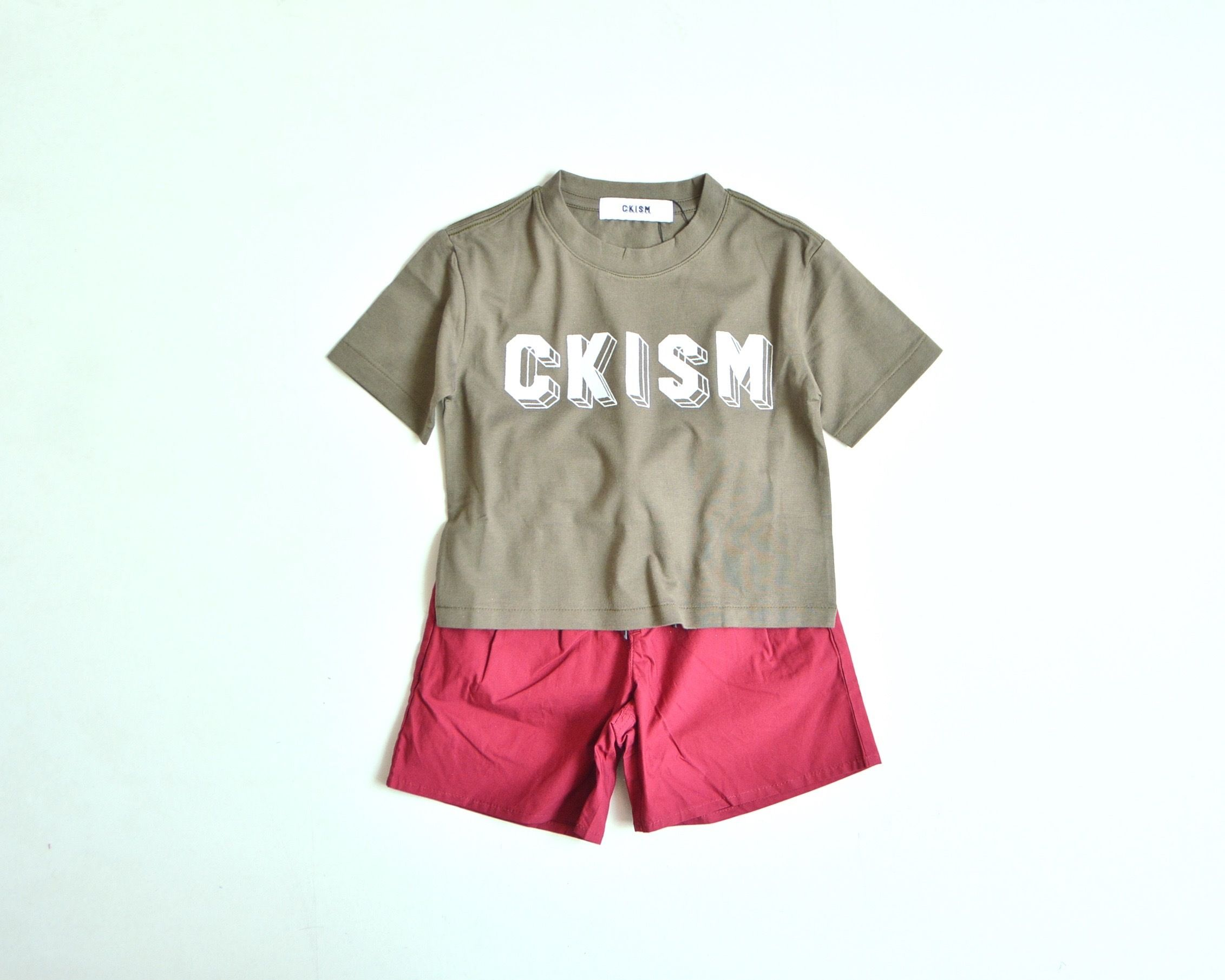 【 CKISM 2017SS 】 Big Tee + Wide Shorts Set / Kahki x Wine / size 100~150cm