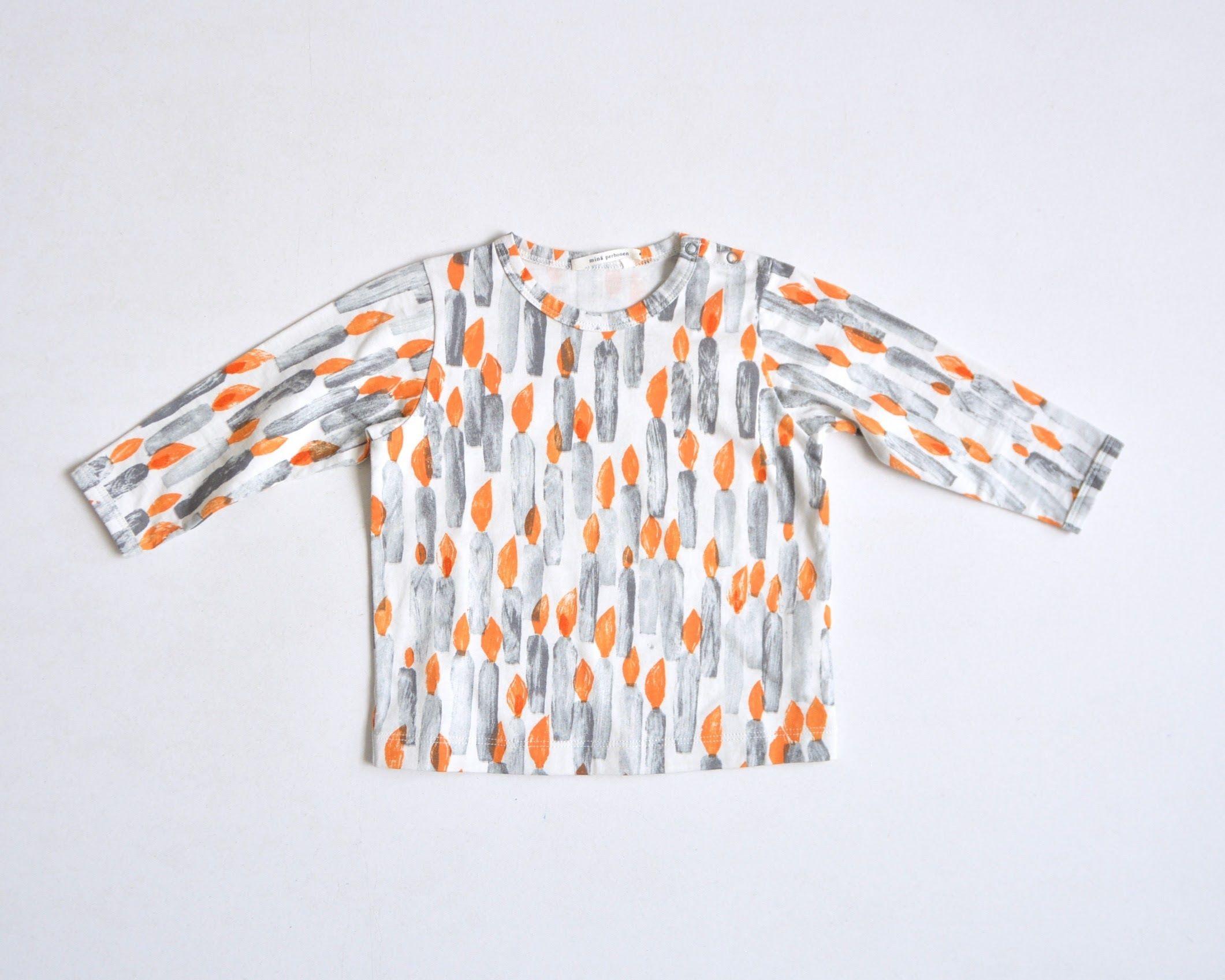 """【ミナペルホネン 17AW】 ロングスリーブTシャツ """"candle"""" / ecru / 110cm~ (VA8849P)"""